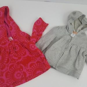 2 Piece Lot Size 9 Months Baby Girl's Hooded Zip